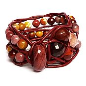 Украшения handmade. Livemaster - original item Stone beaded bracelet. 2 row leather cuff bracelet. Jasper bracelet. Handmade.