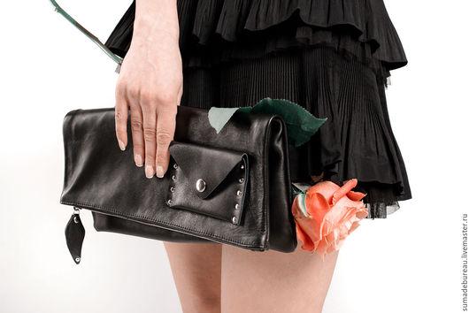 Женские сумки ручной работы. Ярмарка Мастеров - ручная работа. Купить Лерин клатч. Handmade. Черный, клатч кожаный, оксфорд