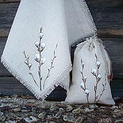 Для дома и интерьера handmade. Livemaster - original item Linen towel and a bag with a list of verbochka... Handmade.