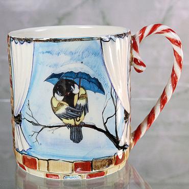"""Посуда ручной работы. Ярмарка Мастеров - ручная работа Кружка фарфоровая """"Зимние птички"""". Handmade."""