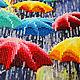 """Люди, ручной работы. Заказать Картина """"Веселые зонтики"""". Вышивка от Виктории Егоровой (BeadworkArt). Ярмарка Мастеров. Зонтик, картина в подарок"""