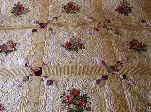 """Текстиль, ковры ручной работы. Ярмарка Мастеров - ручная работа. Купить покрывало """"Букеты и птички"""". Handmade. Лоскутное покрывало, для дачи"""