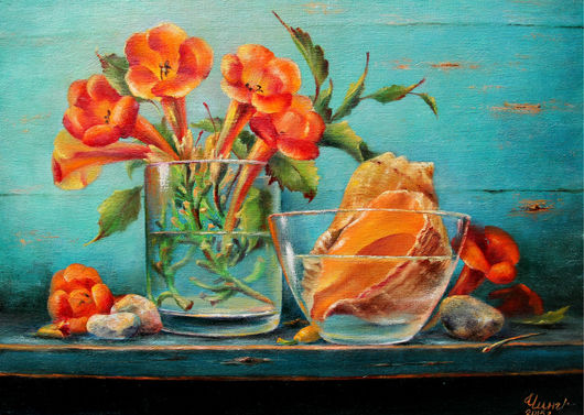 Натюрморт ручной работы. Ярмарка Мастеров - ручная работа. Купить Картина Привет с моря. Handmade. Разноцветный, натюрморт, живопись маслом