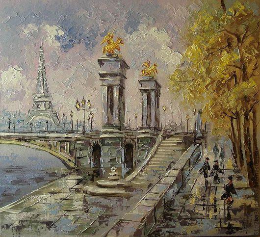 Город ручной работы. Ярмарка Мастеров - ручная работа. Купить Париж. Handmade. Желтый, картина, картина в подарок, картина для интерьера