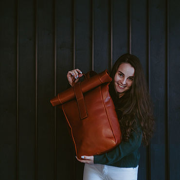 Bags and accessories handmade. Livemaster - original item Backpack leather UNISEX DETROIT. Handmade.
