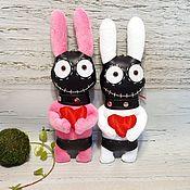 Сувениры и подарки handmade. Livemaster - original item Keychain soft toy white rabbit plush pink rabbit bdsm. Handmade.