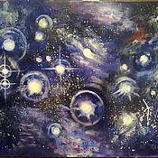 """Картины и панно ручной работы. Ярмарка Мастеров - ручная работа """"Плеяды""""- звездное скопление. Handmade."""