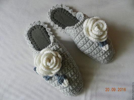 """Обувь ручной работы. Ярмарка Мастеров - ручная работа. Купить """"50 оттенков...-Роз!"""" тапочки (подошва валяная). Handmade. Серый"""