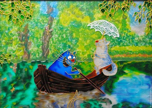 Животные ручной работы. Ярмарка Мастеров - ручная работа. Купить Мы на лодочке катались... Синие коты Рины Зенюк. Витражная картина.. Handmade.