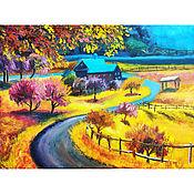 Картины и панно handmade. Livemaster - original item The road home. Rural landscape. Autumn.. Handmade.