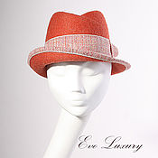 Аксессуары ручной работы. Ярмарка Мастеров - ручная работа Шляпа клош купить, осенняя шляпка для девушки с полями оранжевый цвет. Handmade.