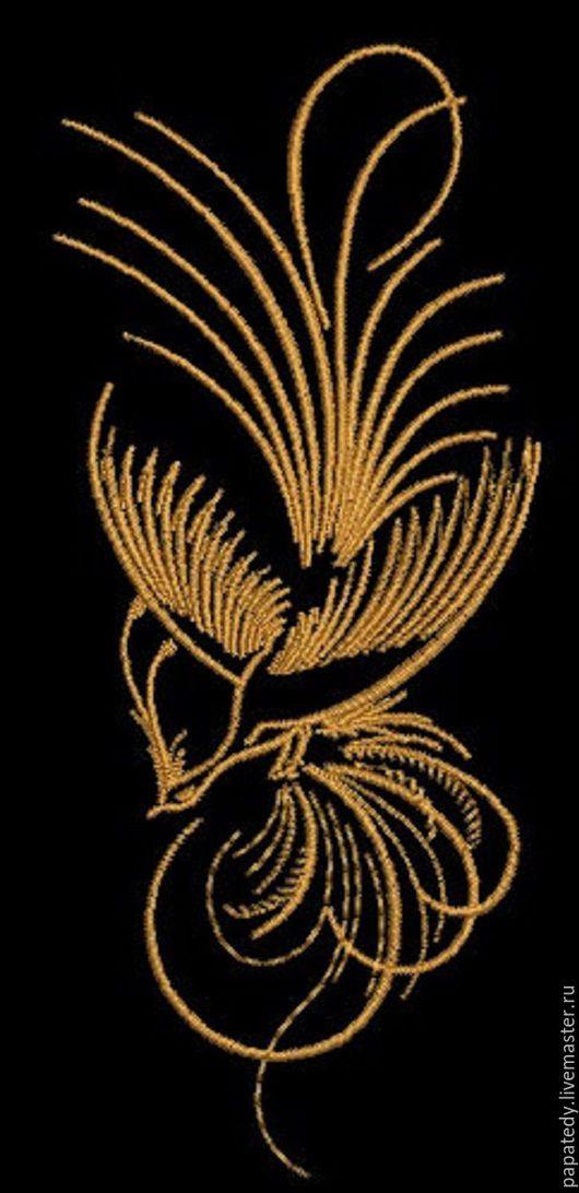 Иллюстрации ручной работы. Ярмарка Мастеров - ручная работа. Купить жар птица / райская птица  дизайн машинной вышивки. Handmade.