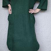 Одежда ручной работы. Ярмарка Мастеров - ручная работа Льняное платье Бохо большой размер зелёное с карманами. Handmade.