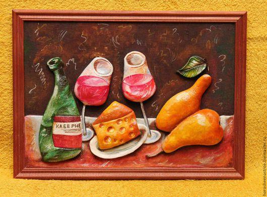 Натюрморт ручной работы. Ярмарка Мастеров - ручная работа. Купить Натюрморт с сыром и грушами. Handmade. Рыжий, терракотовый, малиновый, желтый
