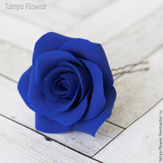 Заколки ручной работы. Ярмарка Мастеров - ручная работа. Купить Шпильки с розами (крупные) Синие. Handmade. Украшение для волос