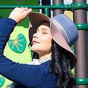 Аксессуары handmade. Livemaster - original item Two-tone wide-brimmed Fedora hat with a soft brim. Handmade.