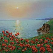 """Картины и панно ручной работы. Ярмарка Мастеров - ручная работа Картина маслом""""Маки и море"""",пейзаж. Handmade."""