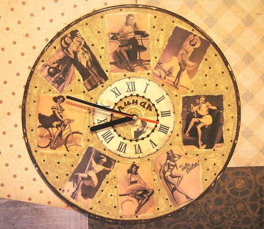 Часы для дома ручной работы. Ярмарка Мастеров - ручная работа. Купить Часы настенные  в стиле пин ап с двух сторон. Handmade.