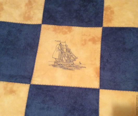 """Текстиль, ковры ручной работы. Ярмарка Мастеров - ручная работа. Купить Покрывало """" Морской бриз"""". Handmade. Комбинированный, кораблик"""