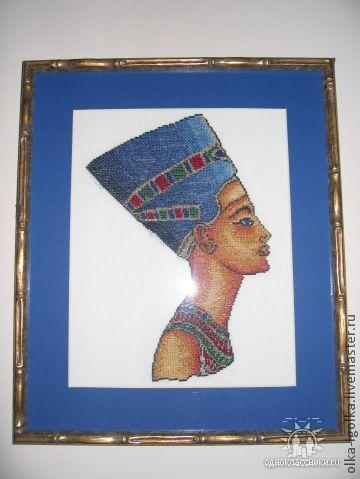"""Люди, ручной работы. Ярмарка Мастеров - ручная работа. Купить Вышитая картина """"Нефертити"""". Handmade. Тёмно-синий, золотой, нефертити"""