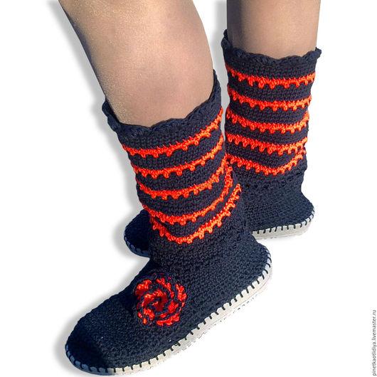 """Обувь ручной работы. Ярмарка Мастеров - ручная работа. Купить Вязаные сапожки """"Встречая осень"""". Handmade. Разноцветный"""