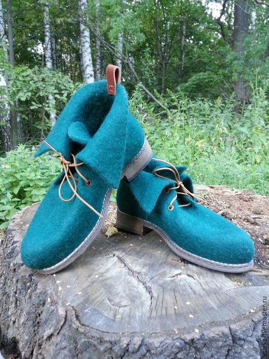 Обувь ручной работы. Ярмарка Мастеров - ручная работа. Купить Ботинки демисезонные. Handmade. Морская волна, демисезонная обувь
