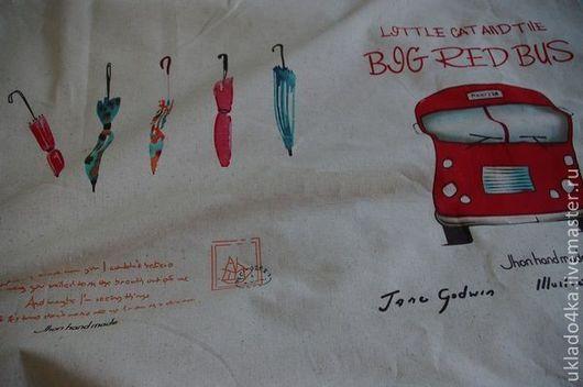 """Шитье ручной работы. Ярмарка Мастеров - ручная работа. Купить Ткань - лен """"Красный автобус"""". Купон.. Handmade. Лен"""
