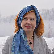 Аксессуары handmade. Livemaster - original item Long blue silk scarf Delicate and sensual Natural silk. Handmade.
