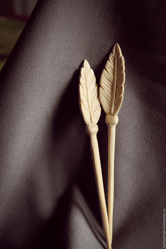"""Заколки ручной работы. Ярмарка Мастеров - ручная работа. Купить Шпильки для волос """"Перо"""". Handmade. Бежевый, шпилька для волос"""