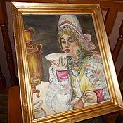 """Картины и панно ручной работы. Ярмарка Мастеров - ручная работа """"ЧАЕПИТИЕ"""" КАРТИНА МАСЛО КАРТОН. Handmade."""
