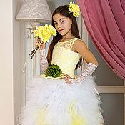 Платья ручной работы. Ярмарка Мастеров - ручная работа Платье Безэ-желто-белое. Handmade.