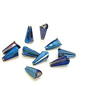 """Бусины ручной работы. Ярмарка Мастеров - ручная работа Бусины """"Башенки"""" #4СКБ стекло 12х6мм Кобальт (синий)10 шт. Handmade."""