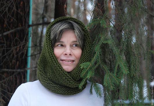 """Шали, палантины ручной работы. Ярмарка Мастеров - ручная работа. Купить Снуд-шарф    """"Оливковый"""" ( полушерсть). Handmade. Хаки"""