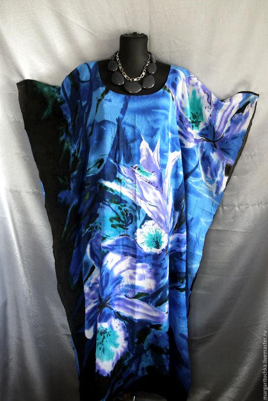 Пляжные платья ручной работы. Ярмарка Мастеров - ручная работа. Купить Пляжное платье легкое синее фуксия. Handmade.