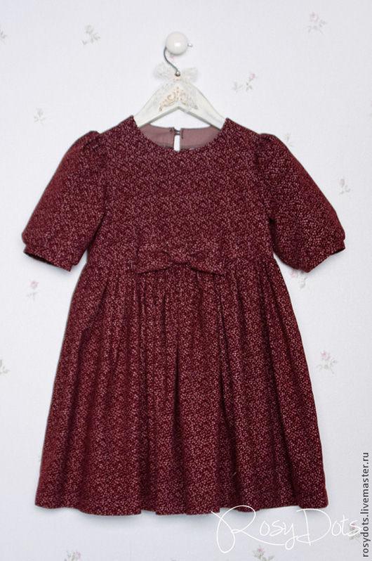 Одежда для девочек, ручной работы. Ярмарка Мастеров - ручная работа. Купить Платье детское из микровельвета. Handmade. Бордовый, платье из хлопка