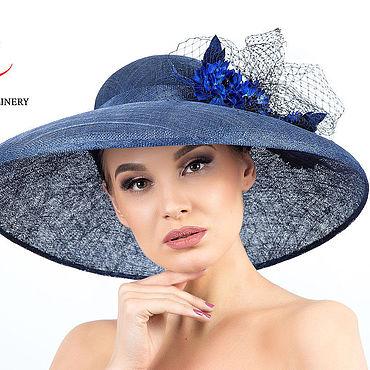 """Аксессуары ручной работы. Ярмарка Мастеров - ручная работа Шляпы: Эксклюзивная синяя широкополая шляпа с цветами и вуалью """"Гвинет. Handmade."""