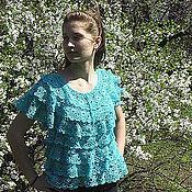 Одежда ручной работы. Ярмарка Мастеров - ручная работа Блуза летняя БИРЮЗА. Handmade.