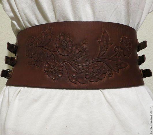 """Пояса, ремни ручной работы. Ярмарка Мастеров - ручная работа. Купить Корсетный кожаный пояс """"Ришелье"""". Handmade. Коричневый"""
