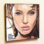 Подарки к праздникам handmade. Livemaster - original item Picture of Angelina Jolie in the style of Pop Art. Handmade.