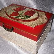 """Для дома и интерьера ручной работы. Ярмарка Мастеров - ручная работа Шкатулка """"Пурпурные розы"""". Handmade."""
