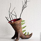 Для дома и интерьера ручной работы. Ярмарка Мастеров - ручная работа Керамическая ваза-дракончик. Handmade.