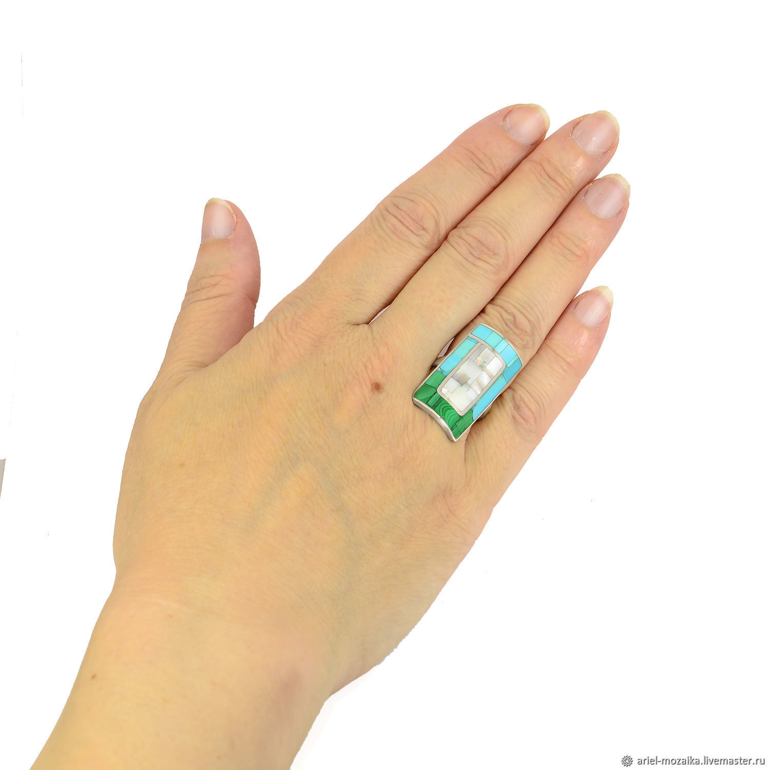 RING 'Blue, Green, White' Size 18. Turquoise and malachite, Rings, Moscow,  Фото №1