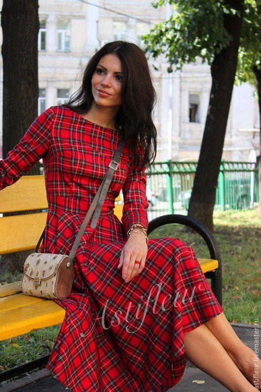 Платья ручной работы. Ярмарка Мастеров - ручная работа. Купить Платье  теплое из красной клетки миди. Handmade. Платье, полиэстер