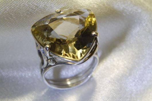 Кольца ручной работы. Ярмарка Мастеров - ручная работа. Купить Перстень из серебра с цитрином. Handmade. Лимонный, серебро, серебро и камень