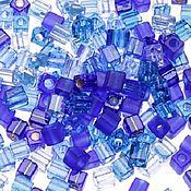 Материалы для творчества handmade. Livemaster - original item 10g Beads Miyuki 3mm cube mix 02 shades of blue Japanese beads Miyuki. Handmade.