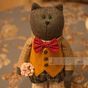 Куклы и игрушки ручной работы. Ярмарка Мастеров - ручная работа Котофей текстильный кот в обувочке 33 см. Handmade.