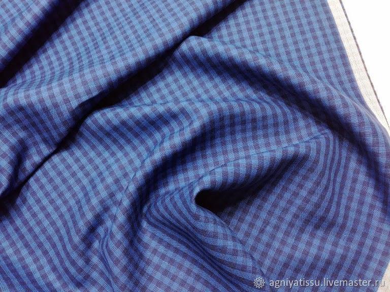 Шитье ручной работы. Ярмарка Мастеров - ручная работа. Купить Костюмный лён/шёлк  BrunelloCuchinelli, клетка синяя. Handmade. Итальянские ткани