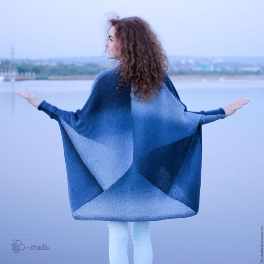 Верхняя одежда ручной работы. Ярмарка Мастеров - ручная работа. Купить Чайка Вязаное пальто из кауни цвета ривер. Handmade.