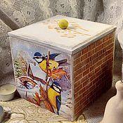 """Подарки к праздникам ручной работы. Ярмарка Мастеров - ручная работа Короб """"Синички"""". Handmade."""