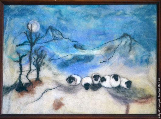 """Пейзаж ручной работы. Ярмарка Мастеров - ручная работа. Купить Картина из шерсти """"Горный пейзаж с овечками"""". Handmade. Разноцветный"""